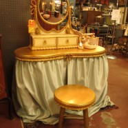 Sale! French style gilt vanity, mirror, and stool – $295 originally $495