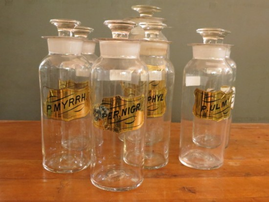 1850s antique hand blown apothecary bottles with glass labels $65-$85
