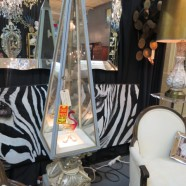 SALE! Silver pedestal lighted display cabinet circa 1960 -$250, originally $425