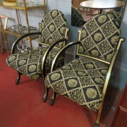 SALE pair of vintage silver leaf and black lacquer Art Deco chairs- now $895, orig. $1495