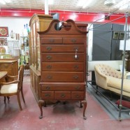 SALE! Vintage mahogany tallboy chest on chest with secret secretary drawer- $750