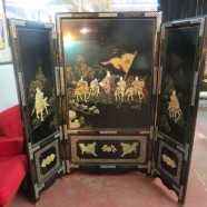 vintage chinese inlaid rare woman warrior screen – $895