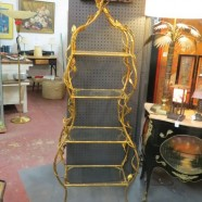 SALE vintage gilt metal 4 shelf etagere with leaves and vines – now $695, orig. $850