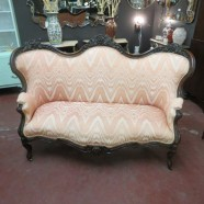 SALE antique victorian solid walnut sofa with flame-stitched upholstery – now $1295, orig. $1495