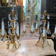 pair of vintage Italian gilt bronze and crystal sconces- $695