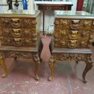 SALE vintage pair of carved and inlaid walnut side tables – now $795, orig. $1000