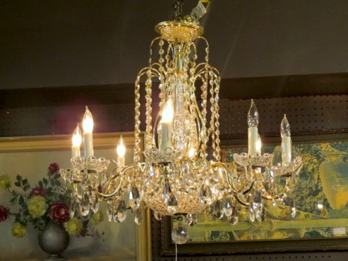 brass and crystal 8 light chandelier – $495