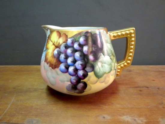 antique Bavarian hand-painted pitcher with grape and leaf motif – $195