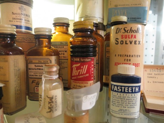 assorted vintage and antique medicine boxes and bottles – $2 – $3