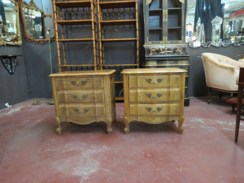 pair of Louis XV style oak nightstands – $495