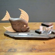Sale! vintage Art Deco ink well and pen-rest with fish carving – $45, originally $125