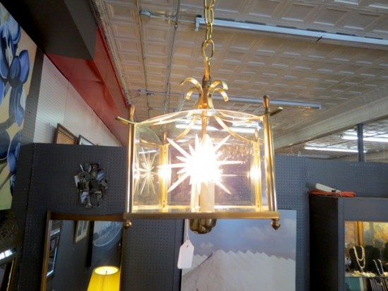 vintage square brass and etched glass lantern chandelier – $95