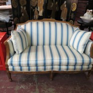 walnut settee with blue striped upholstery – $395