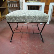 vintage gray atomic print mid century stool with magazine rack – $40