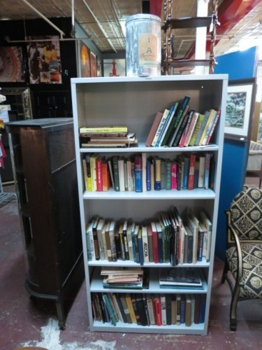 SALE vintage powder coated industrial steel bookcase w/ shelves – $150