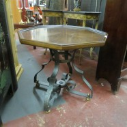 SALE! Vintage octagonal side table with scrolled iron base – $45