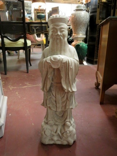 vintage Chinese style concrete statue of an elder – $145