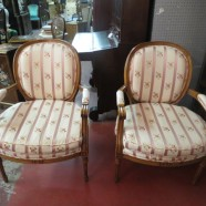 SALE! vintage pair of Louis XVI style walnut armchairs – $395