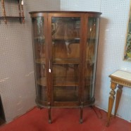 SALE! vintage Victorian curved glass mahogany china cabinet – $495