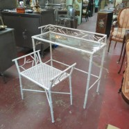 vintage glass top white metal bamboo vanity/desk and bench – $295