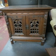 vintage Victorian Gothic Revival carved cabinet – $895