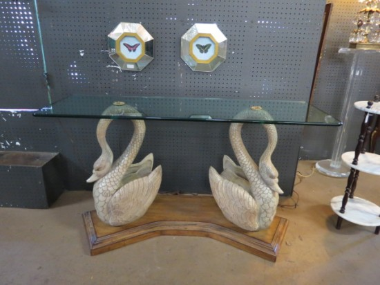vintage double carved wooden swan glass top console table – $795