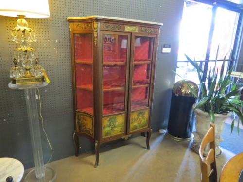 vintage French vitrine with brass ormolu and hand painted panels – $995