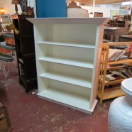 vintage 3 shelf white painted bookcase with egg and dart motif top – $295