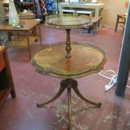 SALE! Vintage 2 tiered bookmatched + inlaid table with brass gallery trim – $250
