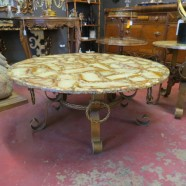 vintage mid century modern Raymond Subes style round coffee table – $795