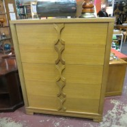 SALE! vintage mid century X handle blonde mahogany chest of drawers – $350