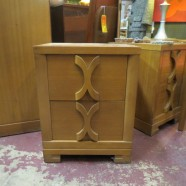 SALE! vintage mid century X handle blonde mahogany 2 drawer nightstand – $95