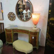 vintage antique Marshall Fields French style vanity, oval mirror, and bench – $695