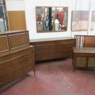 SALE! Vintage mid-century modern walnut & teak 6-piece bedroom set – $695