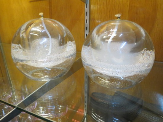 Vintage mid-century modern hand-blown glass oil lamps – $150 each