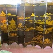 Vintage antique black lacquered hand-painted Chinese 6 panel screen – $1500