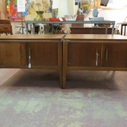 Vintage mid-century modern pair of Lane walnut side tables – $425