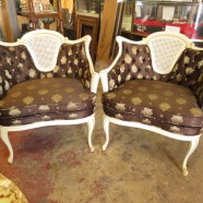 Vintage antique pair of Louis XV style caned back chairs – $595