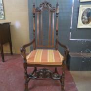 Vintage antique Renaissance Revival carved walnut armchair – $295