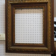 Vintage antique Victorian gilded gesso on oak large picture frame – $80