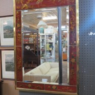 Vintage Chinoiserie red reverse painted mirror – $295