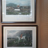 Vintage antique pair of English hunt scene prints – $80 each