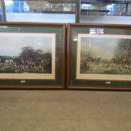 Vintage pair of large English hunt scene prints – $150 each