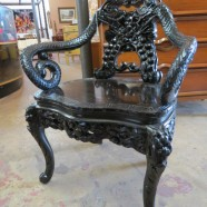 Vintage antique carved ebonized wood dragon chair – $595