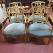 Vintage antique set of 4 Italian fruitwood dining chairs – $495