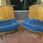 Vintage antique pair of Louis XV style walnut chairs – $395