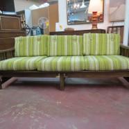 Vintage mid-century modern dark walnut 3 seat sofa – $595