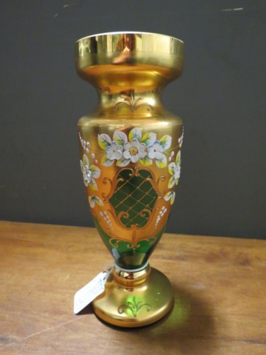 Vintage Bohemian Czech green glass vase – 195