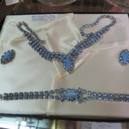 Vintage blue rhinestone necklace, earrings, and bracelet set – $65