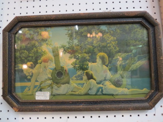 "Vintage Maxfield Parrish framed orig. print ""The Lute Players"" – $350"